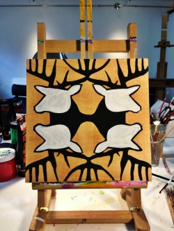 Sunday in the studio. Another painting in progress. The stag 4 pack. Cheers!