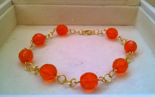 womens handmade firepolished bead bracelet jewellery jewelry accessories accessorize orange
