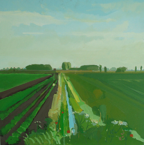 group-eight:  Ditch near Pymoor, The Fens. Acrylic on Panel. Fred Ingrams