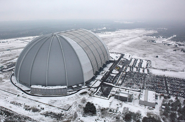"aros:  ""Tropical Islands' resort"" Inside a German Hangar Surrounded by Snow"