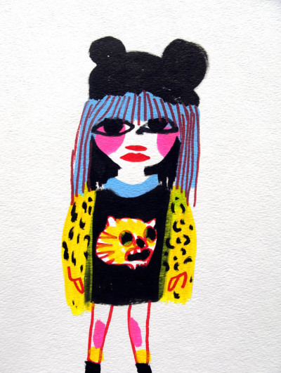 drawingsofgirlson:  Girl in leopard print top.