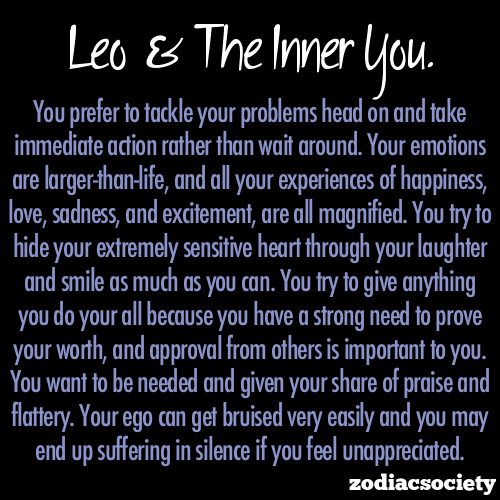 Yep zodiacsociety:  Leo and the inner you.