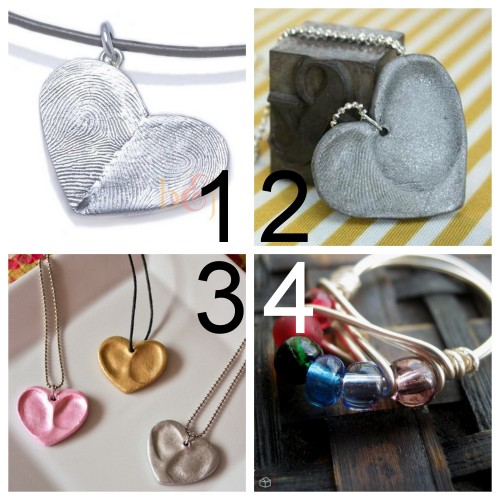 truebluemeandyou:  DIY 3 Mother's Day Jewelry Tutorials. I've gotten a message asking for more DIY Mother's Day gifts. For other gifts go here: truebluemeandyou.tumblr.com/tagged/mothers-day and here: truebluemeandyou.tumblr.com/tagged/diy-gift-guide  $235 Custom Sterling Silver Double Thumbprints Heart Pendant from Etsy Seller fabuluster here.  I posted this for Valentines day. Polymer Clay Double Fingerprint Heart Pendant Necklace Tutorial from Rae Gun Ramblings here. Polymer Clay Thumbprint Heart Necklace Tutorial from That's What Che Said here. Birth Stone Wire Wrapped Ring Tutorial from home(re)made here. NOTE: What craft blogs often don't tell you but should about polymer clay. Whatever touches polymer clay can never ever touch food again. Also before baking, cover the clay with aluminum foil so the fumes don't contaminate your oven (I use a desginated toaster oven).
