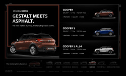 MINI : Paceman  For the launch of the newest addition to the MINI lineup, I got to write up some headlines. Lo and behold one was good enough to make it! The first one tees up the model overview page on miniusa.com and the other one is for dealers to use on their own sites.