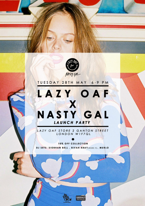 lazyoaf:  Share a Haagen Dazs with your homies, and get 10% off our new Nasty Gal collection… Lazy Oaf X Nasty Gal Launch Party. Tues 28th May. 2 Ganton Street, London, W1F7QL.
