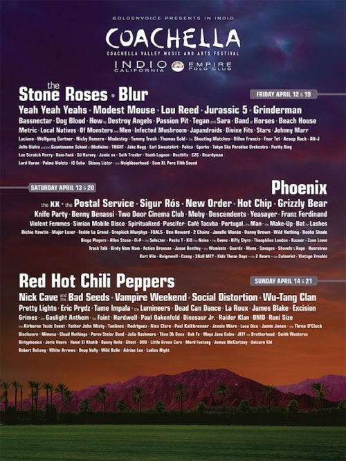 Coachella has announced the lineup for its annual festival in Indio, CA, taking place over the course of two weekends on April 12-14 and April 19-21.