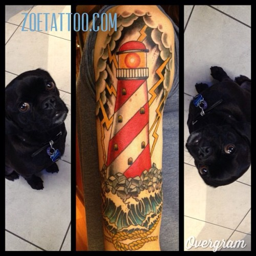 Finished this lighthouse. Keith is supervising my instagraming #thirdeyetattoo  #thirdeyemelbourne #zoetattoo  (at Third Eye Tattoo)