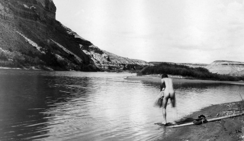 stfrancissocialclub:  Stripping down to take a swim in the Green River, in the Maxon quadrangle, Wyoming.