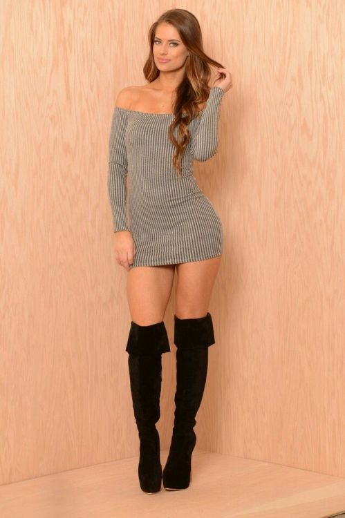 Hannah Stocking in a sexy short dress and thigh high…