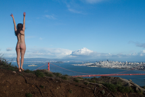 ldnsfw:  Rebecca and the Golden Gate. Marin Headlands, CA - 2013  What an awesome day!