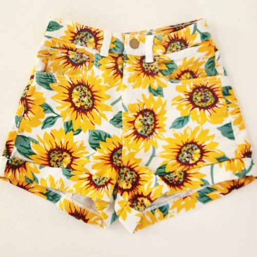 healthysoul:  americanapparel:  The High-Waist Jean Cuff Short in a Sunflower print for Spring!  ordering when they get on the site…………  Omg these must be mine :x