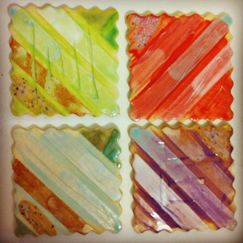 Underglaze test tiles…I think I can use some of this on new jewelry. So excited to have new colors finally! #ceramics #glazed