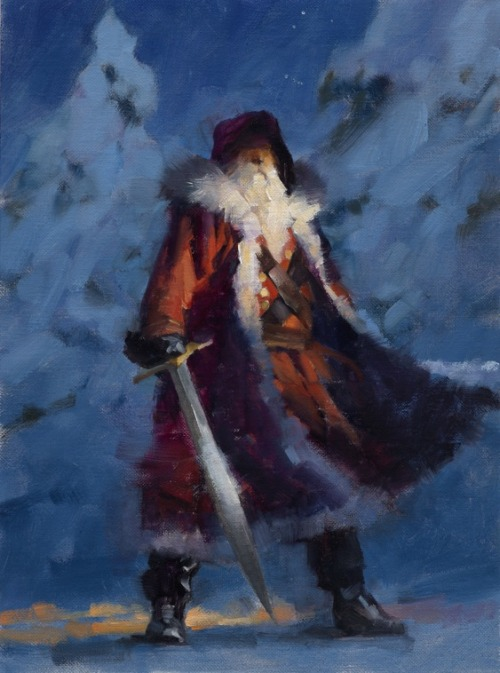 ianbrooks:  Merry F'ing Christmas by Gregory Manchess I came here to kick naughty ass and drink eggnog. And I'm all out of eggnog.  Artist: Website (via: muddycolors)