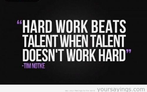 Hard work > Talent. Period