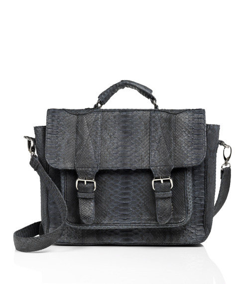 evachen212:  a schoolgirl-luxe satchel I absolutely adore: Phlox's python deliciousness  I wish I could call it mine.
