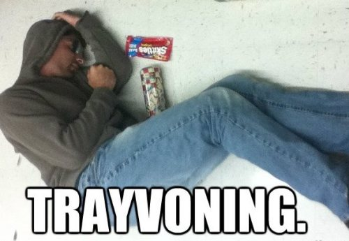 "The 10 worst memes of 2012  5) Trayvoning  On Feb. 26, 2012, George Zimmerman shot and killed teenager Trayvon Martin in Sanford, Fla., while reportedly on patrol for his local neighborhood watch. The incident became national news thanks to Zimmerman's racially charged language during a 911 emergency call prior to his shooting Martin.  People showed their support for Trayvon Martin by wearing a hoodie, which is what Martin was wearing the night he was murdered. Many snapped selfies and posted them to Facebook with messages of support.  Others took a different route. Insensitive jerkwads started ""Trayvoning,"" a photo trend inspired by ""planking,"" where individuals would lie on the ground wearing the aforementioned hoodie, playing dead and holding a can of Arizona iced tea and a bag of skittles—two items Martin had in his hands when he was shot.   A Facebook group briefly appeared but was quickly taken down by the social network. The meme should have ended there, but instead, it jumped over to Tumblr, where it thrived until audiences got tired."