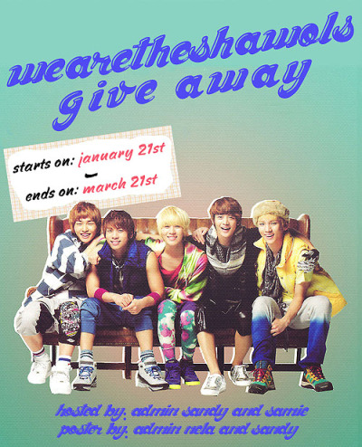 WeAreTheShawols 365 Days Anniversary Giveaway! Wow, it's been a while since we made this blog, right? 365 days to be exact.. This blog started with just Admin Sandy, then comes Admin Nela, Silvia, and Kaitlynn. Later came Admin Sam; and finally, Admin Jillian. Today is our 1 year anniversary and we wanted to show our appreciation to all of our followers. Thank you so much for being there with us, supporting us, and spazzing over SHINee with us. We do really appreciate it and this giveaway is what we will do to show our appreciation. Listed below are the items we will be giving away and the rules as well. Please make sure to read everything or you might be disqualified. Items Being Given Away: SHINee's 1000年、ずっとそばにいて・・・ CD + DVD + Photo & Lyrics Picture Book ☆ 3 SHINee Posters ☆|☆|☆ 1 SHINee Key Lanyard ☆ 1 SHINee Fan ☆ Bonus: 2 SHINee World Wristbands ☆|☆ Guidelines: There is only ONE WINNER. Only ONE person gets all the items. Must be FOLLOWING WEARETHESHAWOLS. This is a follower giveaway. Anyone who is not following us will be disqualified. We will be checking. No giveaway blogs! We will also be checking for this. Only FIVE REBLOGS PER DAY. We don't want you guys to spam your followers. We will be counting your reblogs.  Likes Count.  Shipping Internationally. We will be using a random number generator to choose the winner. Giveaway ends on March 21st. +More The giveaway is hosted by Admin Samie (minsentric) and Sandy (mypikachujokwangmin)~ Special thanks to Admin Nela (taenipps) for making the poster for us~  To see all of the items being given away click HERE~