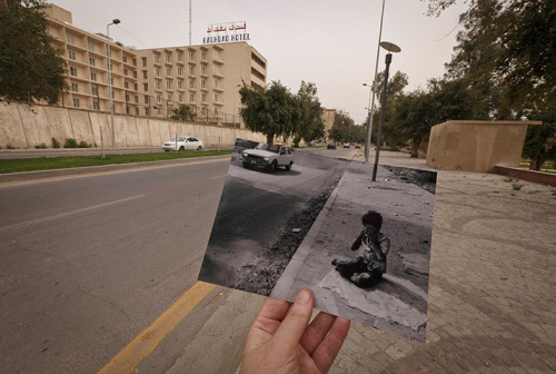 guardian:   Iraq then and now The Associated Press photographer Maya Alleruzzo was based in Baghdad for more than four years, covering the 2007 troop surge and the end of combat operations. She has returned to see how the city has changed, visiting the scenes of photographs taken by colleagues over the past 10 years Photo: Abu Nawas Street in Baghdad, where an Iraqi orphan was photographed in April 2003: Maya Alleruzzo/AP