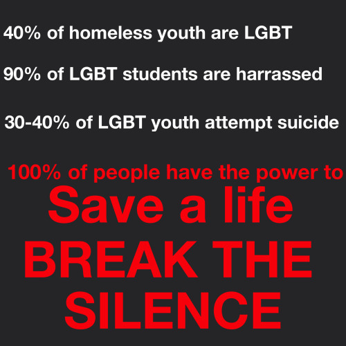 """A few days ago was Day of Silence, a day set aside to raise awareness about LGBT bullying, anti-gay violence and suicide. Last night I talked a friend down from a suicide attempt. I will respect my friend's privacy by not giving any details about them, but I can tell you that the world would lose some of it's shine if this person were gone. It's time for a wake up call world. This teenager was going to take their life because of the hatred in this world that is aimed at them. This person is beautiful, unique, creative and driven and is constantly pushed down just because they are a little different. This has got to stop. I am calling for every person who reads this post to break the silence surrounding the issue of mental health, surrounding suicide, surrounding everything that makes us feel less than worth it."" Read more: http://boxersandbinders.com/uncategorized/break-the-silence/"