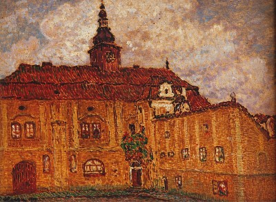 poboh:  Před zámkem / Before the castle, 1913, Jan Honsa. Czech  (1876 - 1937)