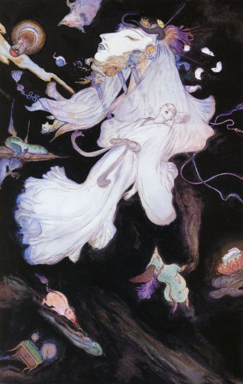 "liquidnight:  Yoshitaka Amano ""The Monk's Dream"" Illustration from The Sandman: The Dream Hunters, 1999 Written by Neil Gaiman"