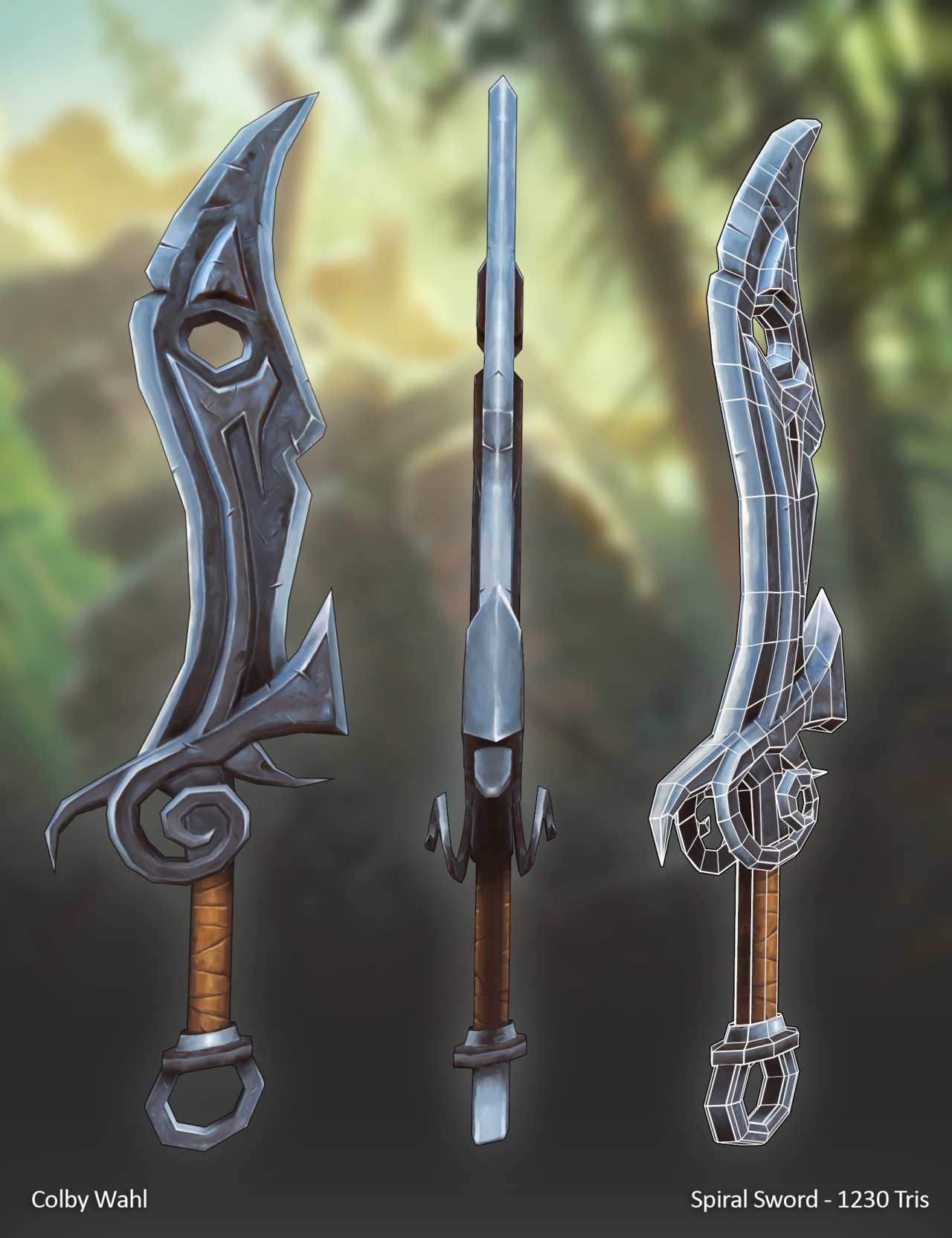 colbywahl:  World Of Warcraft themed Spiral Sword, Modeled in Maya, Textured in Photoshop, Rendered in Marmoset, 1230 Tris