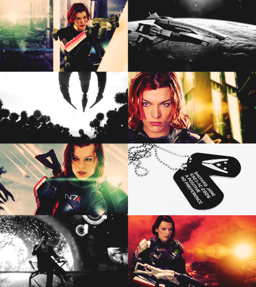 "Milla Jovovich as Commander Shepard  ""Call me princess again and you'll be picking your teeth up off the floor.""       This crossover is the best crossover."