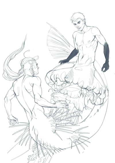 orsob:  commission for opening-theme  Absolutely love these unusual mermen!