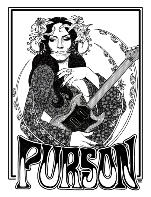 purson illustration psychadelic pen and ink poster