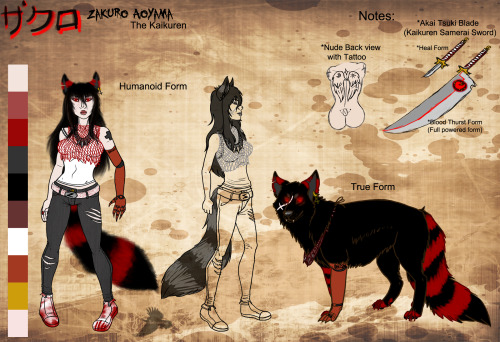 So here's the FINALLY REVISED LOOK AND REFERENCE SHEET ENJOY MOFOS!NEW!+Prosthetic right arm is now a downgraded rusty claw arm.+Right Arm now has her Health plus tattooed on her.+Back tattoo is now black ink.+No longer has a blonde coon hair extension.+Wears a red fishnet modified top over her wife beater tank top.+New bloody belt with a Z belt buckle.+Updated bloody sneakers.+Jeans are now dark Grey.Notes+ Is rarely seen in her true form.+ Normally seen with her burdy boy toy Lauren or downtown at some city+Is sometimes a total whore.+ Rarely uses her flame abilities, due to how much it can drain her life energy away.+ Normally carries her Sword (but sometimes she won't have it with her.+ Her old classic Jacket is back and she does wear it depending on the weather.