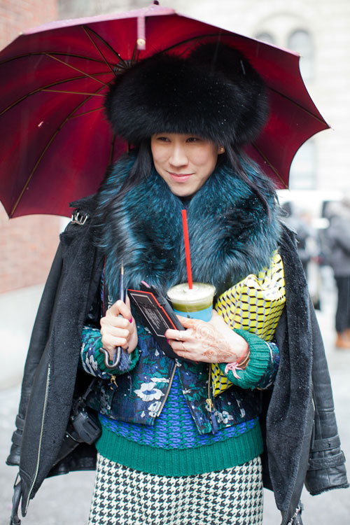 Eva Chen during New York Fashion Week, Fall 2013