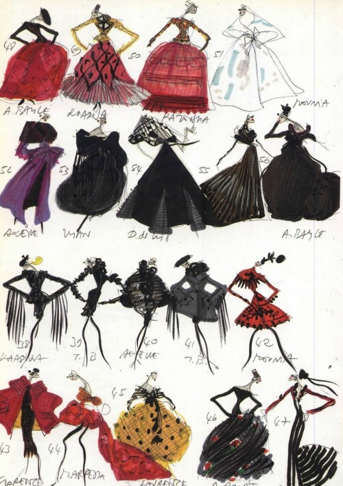 Sketches from Christian Lacroix's first haute couture collection, 1987