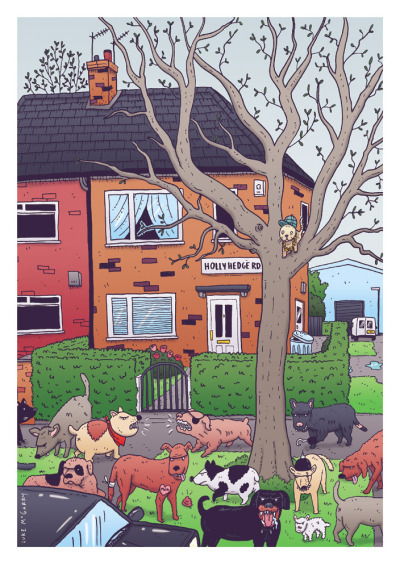 """Wild Dogs of Wythenshawe"", my piece for The Skyliner's StreetView exhibit in Manchester. Based on my Grandma's house and the feral dogs that roamed her neighbourhood."
