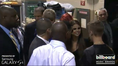 staypresentandbelieve:  sel and justin backstage