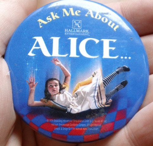 "Sometimes you just see something, think ""that's mine,"" and buy it without debating if it's overpriced for a button. But it doesn't matter because when you wear it, you are complete. Ask Me About Alice."