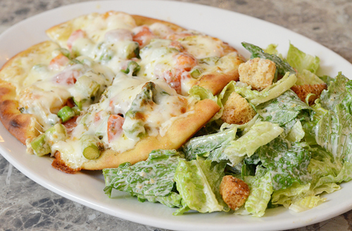 in-my-mouth:  Creamy Flatbread Pizza and Caesar Salad