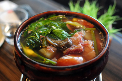 paresatbp:  Sinigang na Corned Beef by SENTRO 1771 Wait, WHAT? At first we thought this was the corned beef that cmae out of the can shredded pieces of read meat floating over tamarind broth. Turned out it was huge chunks of beef which had simmered for 75 hours to make it super tender and flvorful. Each order would have unlimited refills of soup. You've got to try it to believe it! Corned beef short ribs and boneless shanks in tamarind broth with native vegetables.