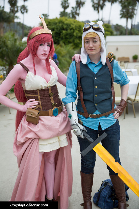 sweetmotherofladygaga:  dtjaaaam:  Princess Bubblegum and Finn - Anime Conji 2013 What time is it?! Steampunk Adventure Time!  Finn - HotAirBalloontoHell Princess Bubblegum - SweetMotherofLadyGaga Thank you for taking our picture! c: (Designs belong to Micaella)  Finn even has a little jake! <3
