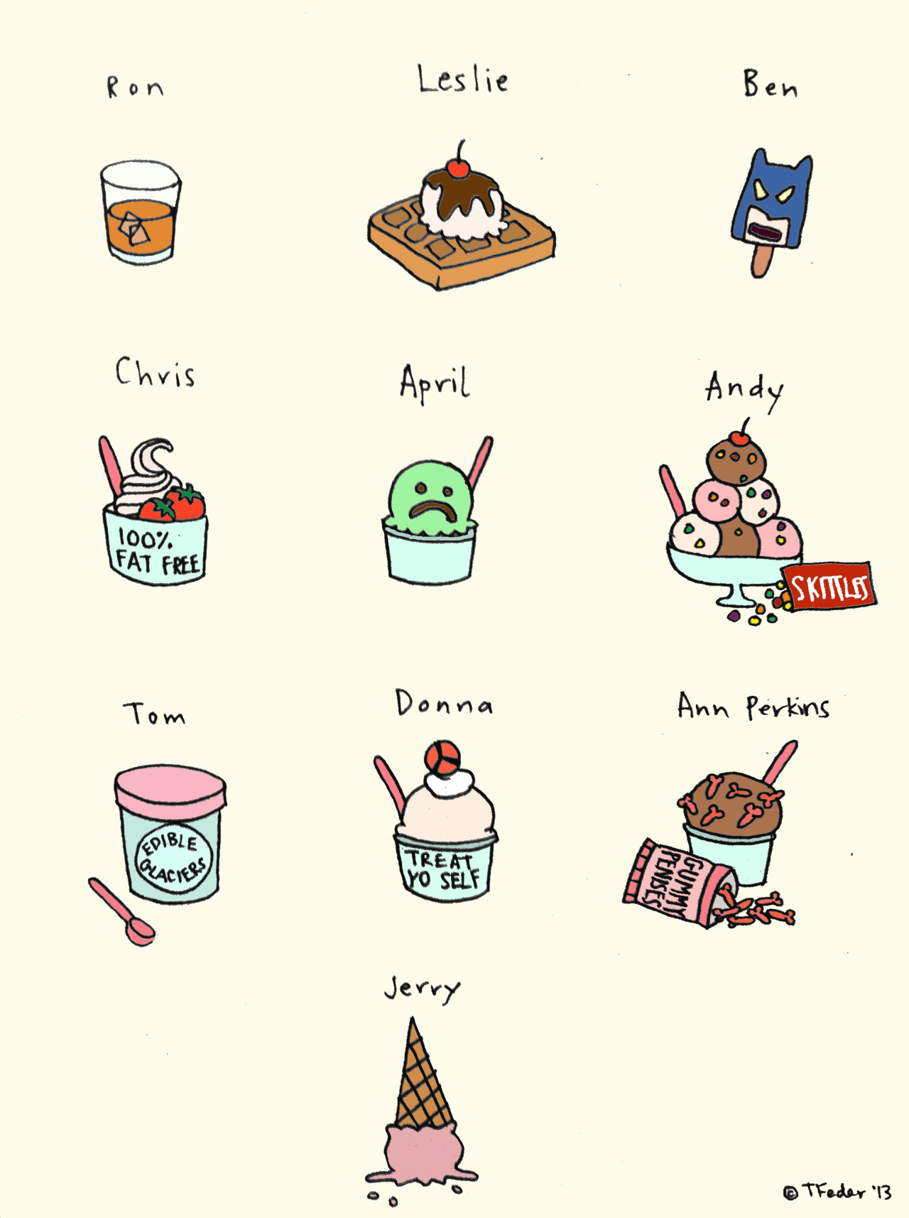 roaring-softly:  Parks and Rec Ice Cream (by Tyler Feder) Edited to add: You guys can now purchase a signed print of this piece right here at my Etsy shop!  Thank you so much for being so supportive!  Gummy penises all around!  This. all of it.