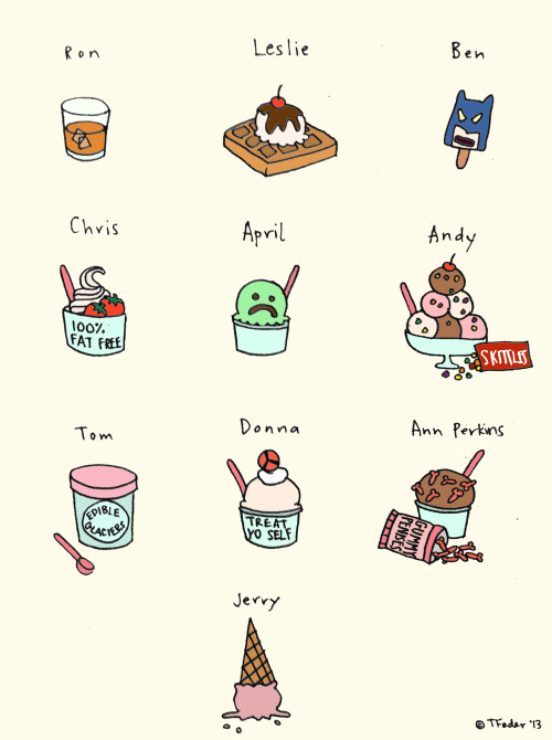 Parks and Rec Ice Cream (by Tyler Feder) Edited to add: You guys can now purchase a signed print of this piece right here at my Etsy shop!  Thank you so much for being so supportive!  Gummy penises all around!