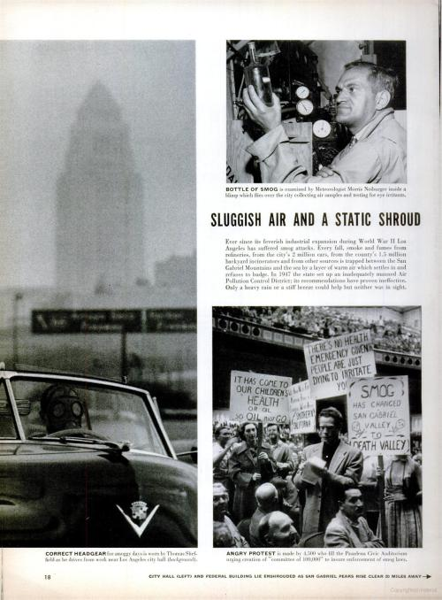 LIFE magazine coverage of smog in Los Angeles [2 of 3]. Circa November 1, 1954.