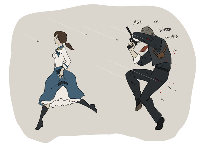 sokak:  booker dewitt and elizabeth (bioshock infinite) (bioshock and bioshock infinite) drawn by gb (doubleleaf) - Danbooru