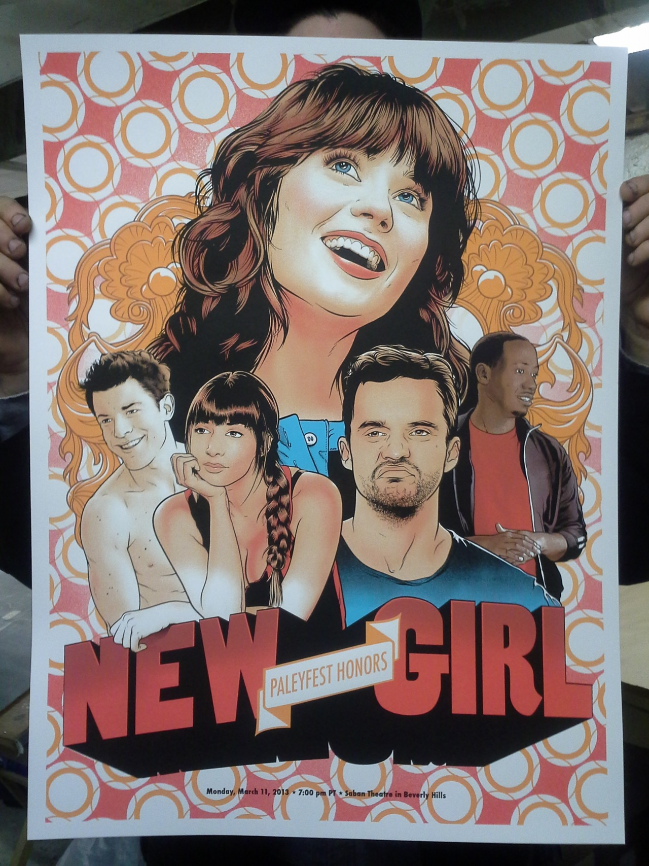 """NEW GIRL"" BY JOSHUA BUDICH FOR GALLERY 1988 AND PALEYFEST HONORS 2013 6 COLORS 18"" X 24"" COUGAR 100LB. COVER IN WHITE BUY IT HERE - http://nineteeneightyeight.com/products/joshua-budich-paleyfest-2013-honors-new-girl-print"