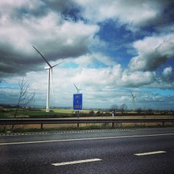 Wind faaaaaaarm! #sky #clouds #fields #road #windfarm #turbine #drive #mororway