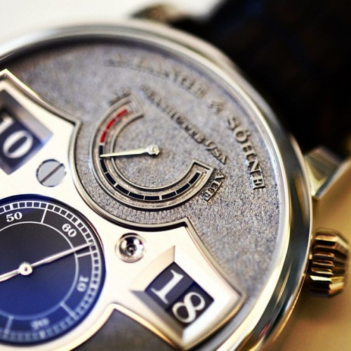 The amazing A Lange & Söhne Zeitwerk Handwerkskunst today on HODINKEE.  (at Soho House)