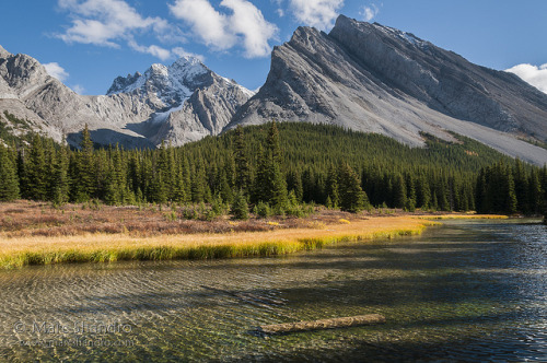 Elbow River Sparkles With Mount Rae Watching - Kananaskis Alberta - Canadian Rockies on Flickr.Via Flickr: The crystal clear headwaters of the Elbow River sparkle in this warm autumn sunshine. Snow dusted Mt. Rae looming in the distance is one of the higher mountains in these front ranges and is a popular scramblers destination. This is day one of our intended 7-day backpack in this area of Kananaskis country and our destination is the Tombstone backcountry campsite which is about 7 kilometers from the Elbow Lake trailhead at Hwy 40.
