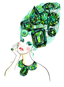 "Emerald is the Color of the Year for 2013.Emerald is a color inspired by a gem that's rarer than diamonds. ""Lively. Radiant. Lush… A color of elegance and beauty that enhances our sense of well-being, balance and harmony.""—Pantone -Illustration by Sunny Gu. Get updates from Facebook Twitter Pinterest"