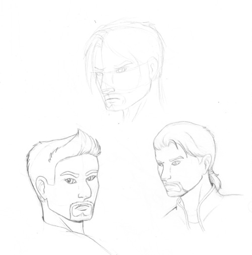 The three Bredrit Boys. Brothers Aredon and Kyjja… and a first pass sketch of their yet unnamed father.  The three are supposed to look very similar, yet still have their own distinct look and personality at the same time.