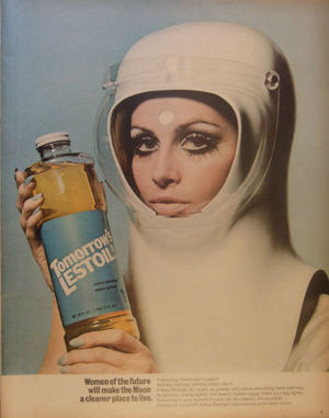 Sexist sixties ads claim that women will clean everything; even on the moon.