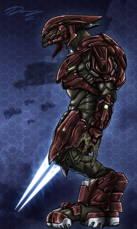 "itsalwaysgarytime:  A Sangheili Officer who fights for the Thel 'Vadam (Arbiter) forces. This is what I picture Arbiter's forces to appear as if they were to ever to walk through the new ""Halo 4 Aesthetic retcon."" I'm pretty happy with the results, I can also change the color so the Officer could become a Minor (blue)  I seriously hope the elites we saw in Halo 4 aren't just the ""status quo"" appearance of the elites in the new trilogy. I'd like to think that Jul 'Mdama's forces were given hand me down armor that didn't need Huragok keep up to work. While Thel's forces kept their armor from the previous Trilogy because the UNSC gave them Huragoks in good faith of their peace treaty. I might just work on grunts, jackals, Hunters, and other previous covenant forces appearances of those aligned with Vadam. See it on my dA account here -> Sangheili Officer by Guyver89"